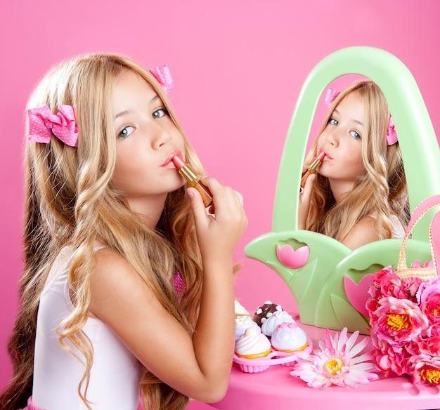 Children fashion doll little girl lipstick makeup pink vanity