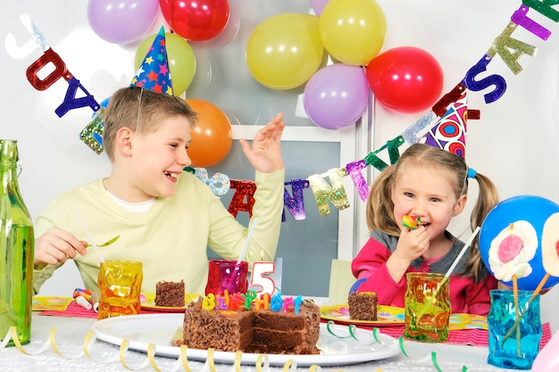 Children at funny birthday party