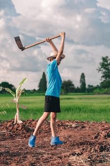 Children girl holding hoe and dig soil for planting tree in garden