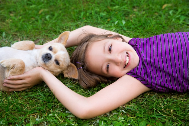 Children girl playing with chihuahua dog lying on lawn