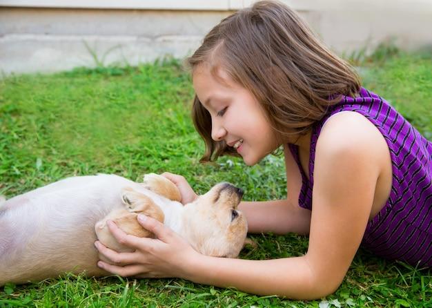 Дети девочка играет с собакой чихуахуа, лежа на газоне