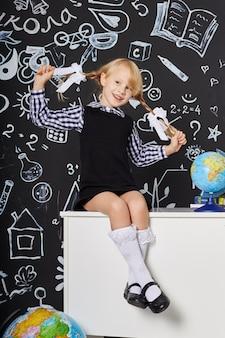 Children girl student study school first september