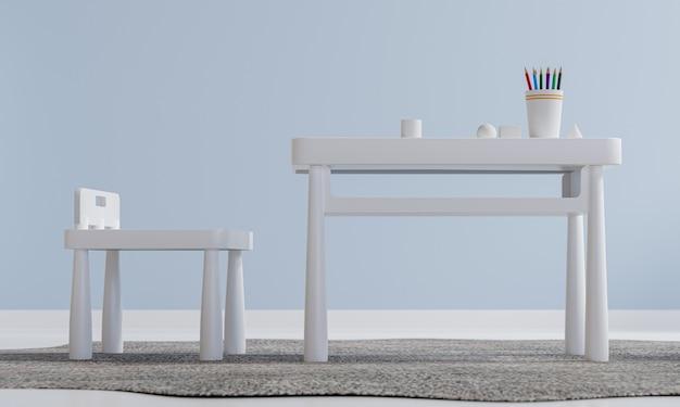 Children interior room design with white table set