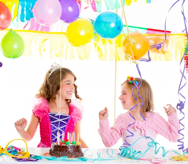 Children kid in birthday party dancing happy laughing
