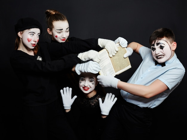 Children mime group photo, pantomime makeup