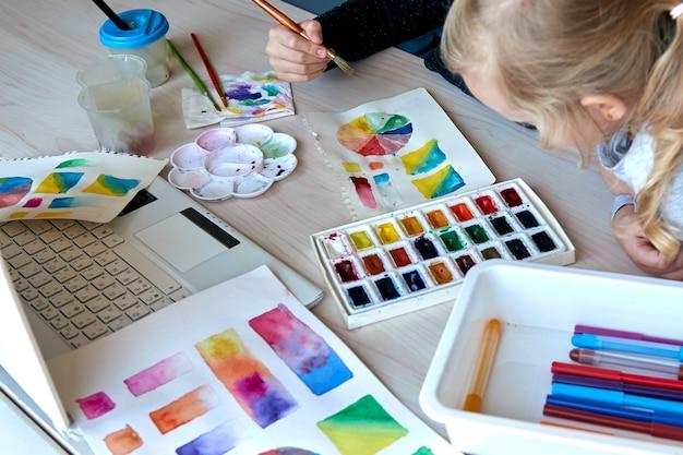 Дети рисуют картины акварельными красками во время урока рисования. ученики концентрируются на рисовании кистью. цветовое колесо и палитра акварели. уроки хобби для начинающих по теории цвета