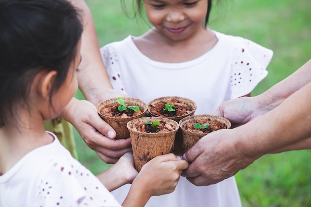 Children and parent hands holding young seedlings in recycle fiber pots together