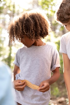Children participating in a treasure hunt