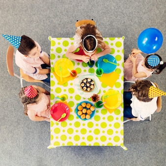 Children party table from above