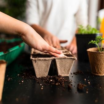 Bambini che piantano raccolti a casa