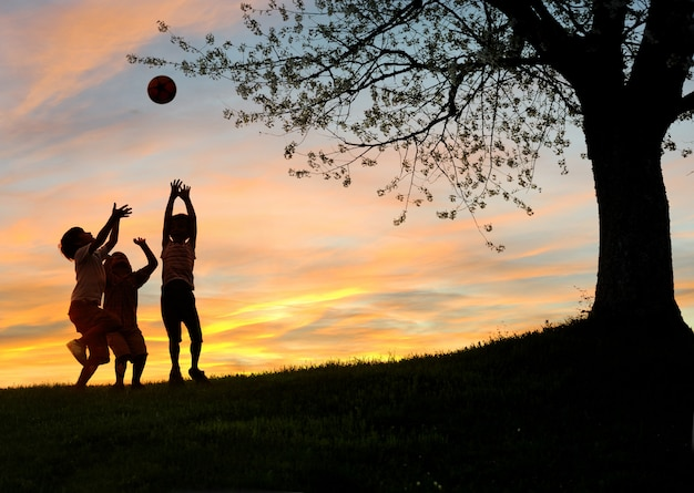 Children playing in sunset, silhouettes, freedom and happiness