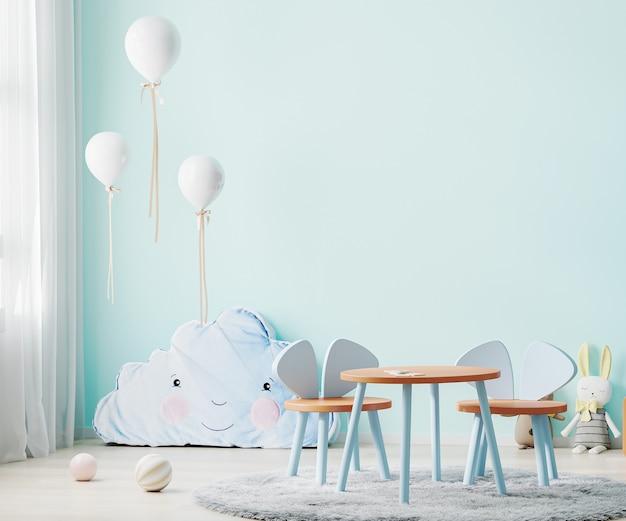 Детская игровая комната с синей стеной и детским столом