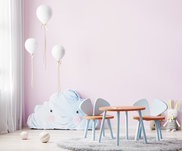 Children playroom with pink wall and kids table, children room interior with soft toys and balloons