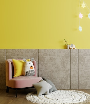 Children playroom with yellow wall and kids armchair, children room interior mock up with soft toys and pillows, 3d rendering