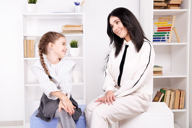 Children psyhology concept. session of psychologist treatment.