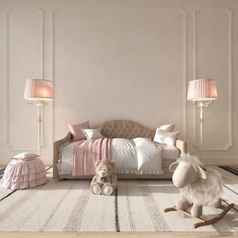 Children room interior classic style. pink kids bedroom for girl 3d rendering illustration