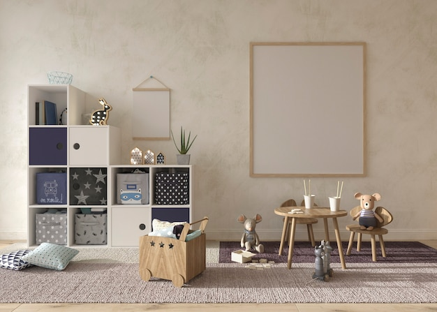Children room interior scandinavian style 3d rendering illustration
