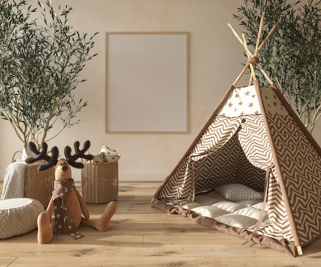 Children room interior scandinavian style with mock up frame on wall 3d rendering illustration