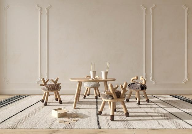 子供部屋のインテリアスカンジナビアスタイルの自然な木製家具3dレンダリングイラスト
