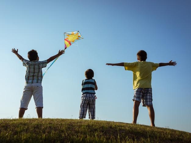 아름다운 하늘 구름 위의 초원에 연을 실행하는 어린이