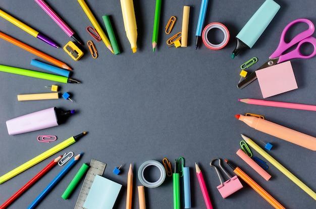 Children's accessories for study, creativity and office supplies on dark