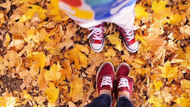 노란색 단풍에 대해 빨간색 신발 색상의 어린이 및 성인 다리.