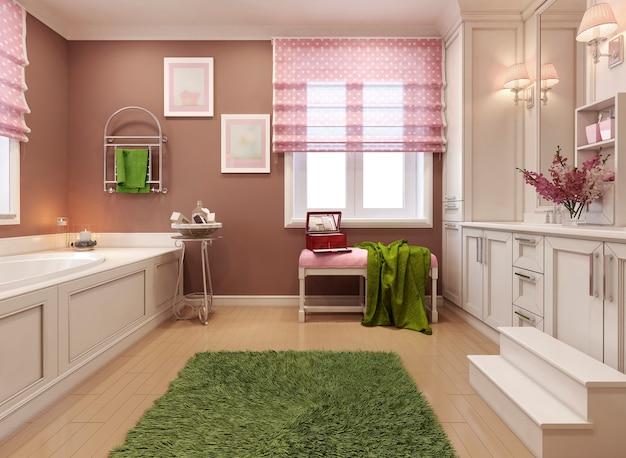 ピンクの子供の浴室の女の子