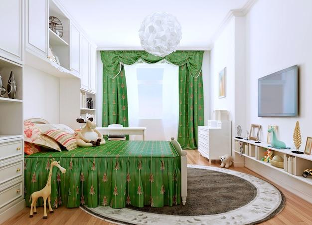 白い壁と緑の家具と緑のカーテンを備えたクラシックなスタイルの子供用ベッドルーム。