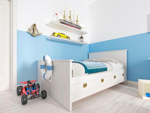 Детская спальня с белой кроватью в комнате и полкой со старинным кораблем и различными игрушками. 3d рендеринг