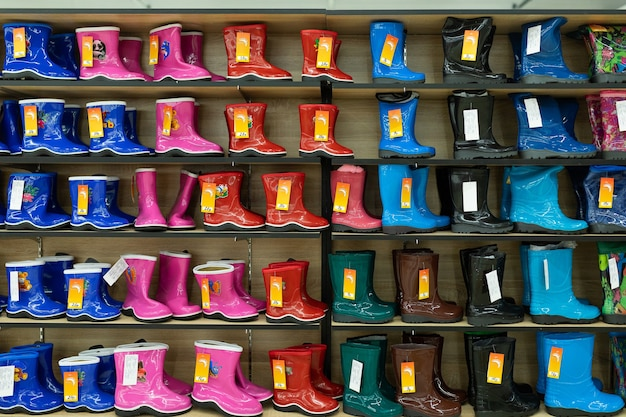 Children's bright shoe store with a large selection of colors, models and sizes