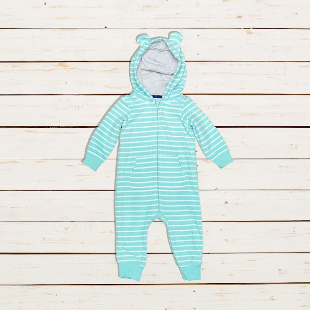Children's clothing on wooden boards