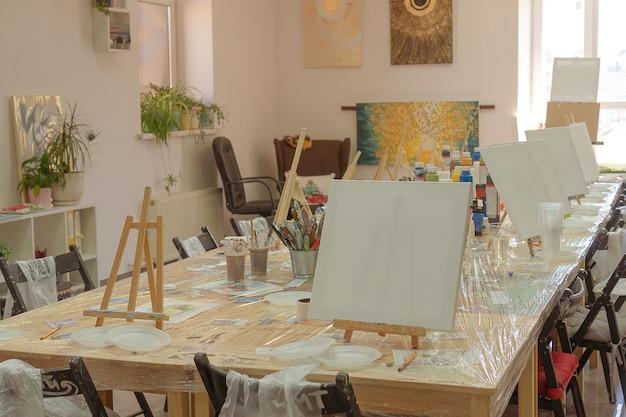 子供のお絵かき教室。イーゼル、帆布、テーブルの絵の具。学生を待っています。子供を描くための美術学校のインテリア。