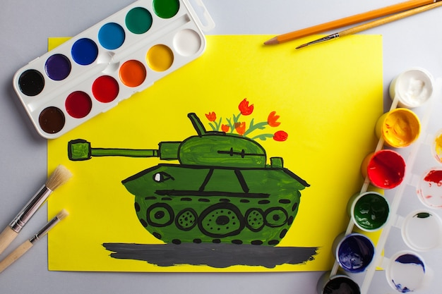 Children's drawing of a tank as a gift for the anniversary of victory day