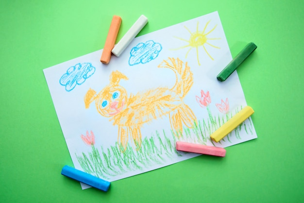 Children's drawing with a funny dog