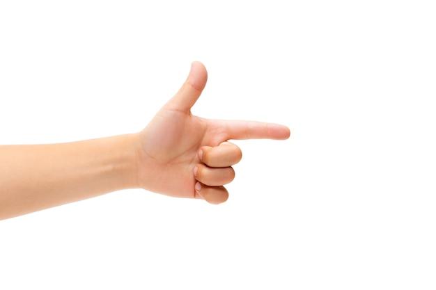 흰색에 몸짓 어린이 손