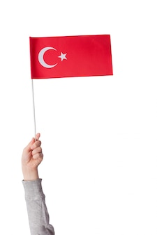 Children's hand holds the flag of turkey. red flag moon and star. vertical frame. isolate on white