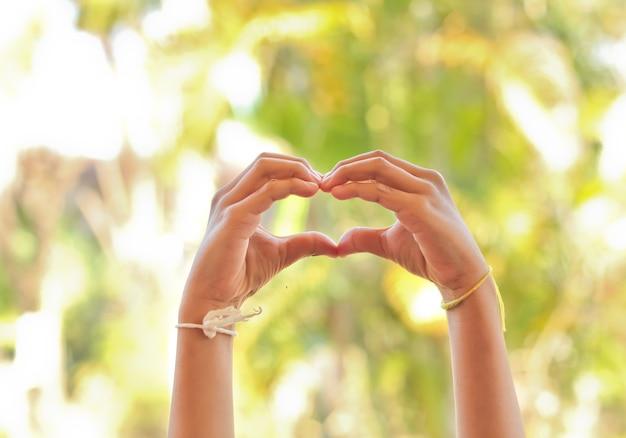 The children's hand make a heart.
