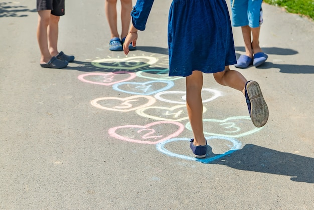 Children's hopscotch game on the pavement