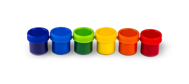 Children's paints in jars  isolated