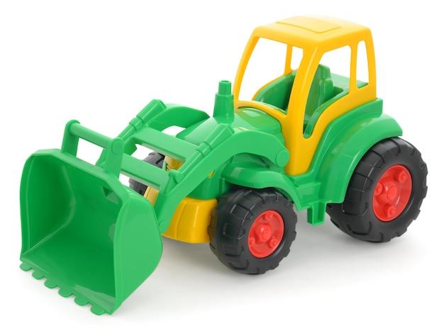 어린이 플라스틱 장난감, 노란색-녹색 불도저 흰색 절연