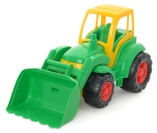 Детская пластиковая игрушка, желто-зеленый бульдозер, изолированные на белом