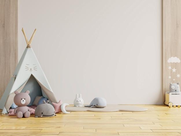 Детская игровая комната с палаткой и столом, сидя у белой стены, кукла. 3d визуализация