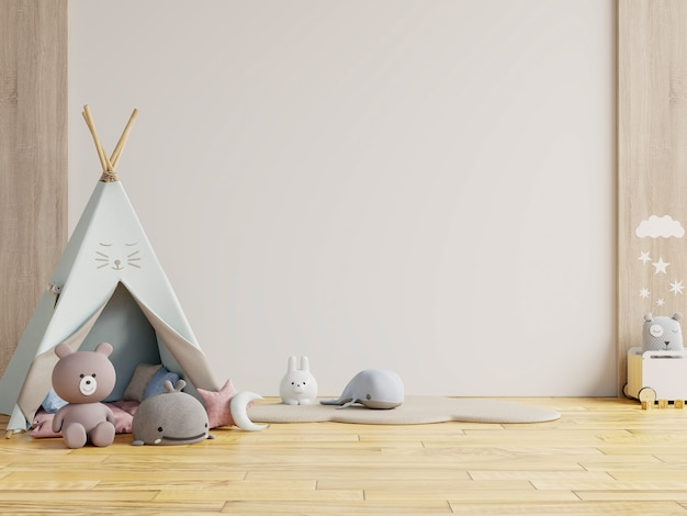 Children's playroom with tent and table sitting white wall, doll.3d rendering