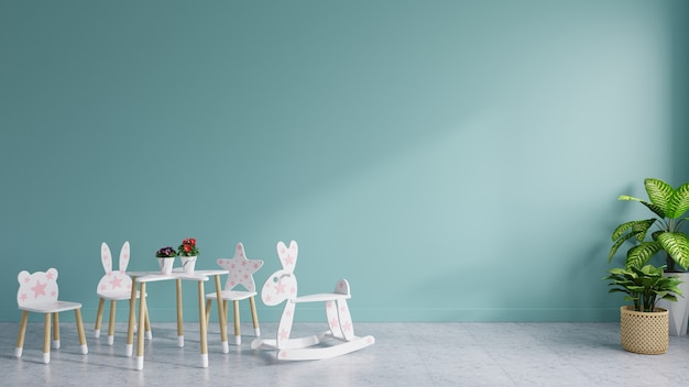 Children's room had blank blue walls, decorated with baby chairs and benches, with trees on the tiled floor. 3d rendering.