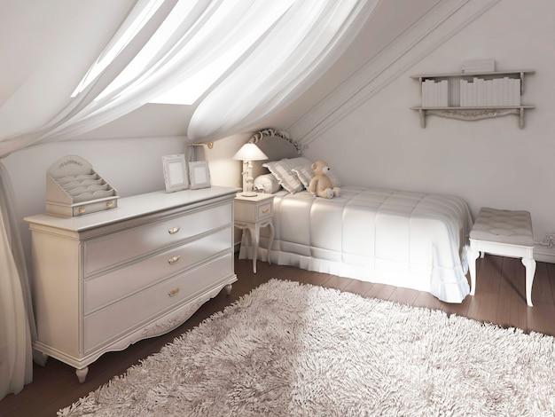 Детская комната в классическом стиле с кроватью и комодом. 3d визуализация