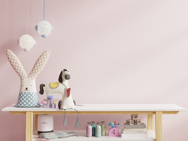 Children's room in light pink color wall