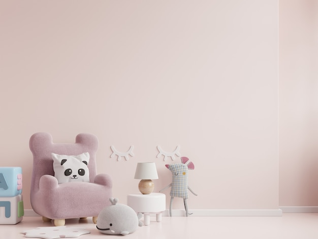Children's room with chair in light pink color wall