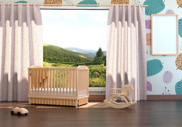 Children's room with a cot and an empty frame