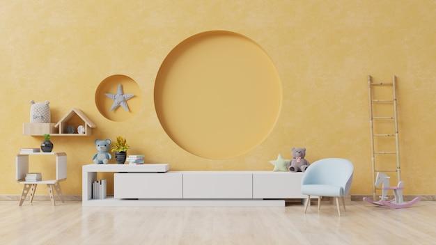 이젤 안락 의자와 캐비닛 어린이 방.