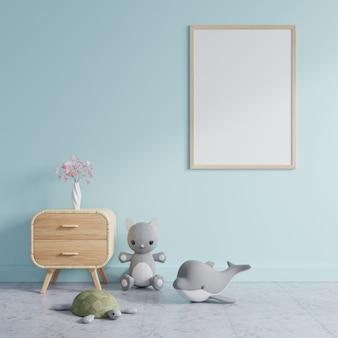 Children's room with a picture frame on a blue wall, decorated with dolls and flower vase placed on wooden cabinet set. 3d rendering.